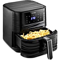 Innsky Air Fryer 5.8QT, 1700W Air Fryer Oven XL for Air Frying, Roasting Electric Hot Fryer with LED Touchscreen, 7 Cooking Presets, Preheat & 32 Recipes Book (Black)