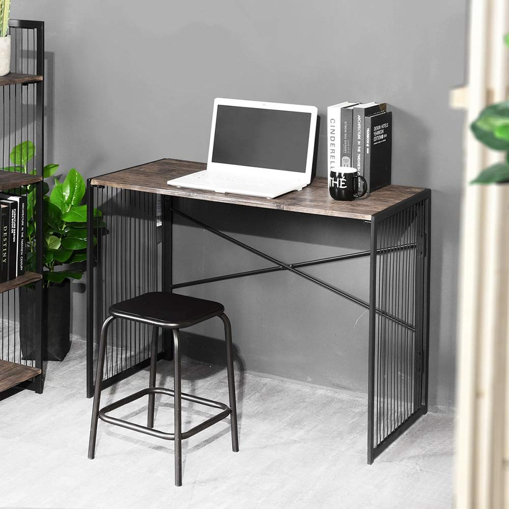 FURNISH 1 Foldable Computer Desk,Industry PC Laptop Study Gaming Writing Workstation Portable Folding Table with Metal Frame for Home Office Picnic Camping,100 x 50 x 75 cm (Walnut with Black Legs)