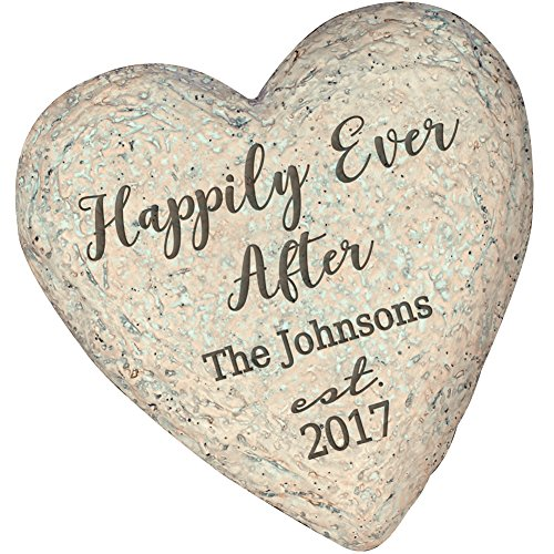 PROGIFTSOURCE.COM Personalized Happily Ever After The_ Est Year Resin Heart Garden Stone