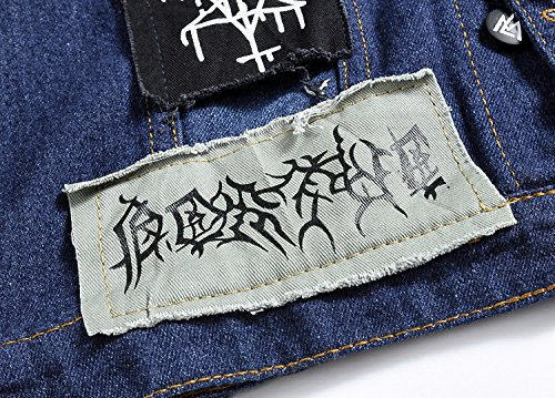 Denim Lunghe Ylsz Camicia Patch A Xxl Maniche jacket Giacca Jeans Coreano Uomini wCtBqYZt