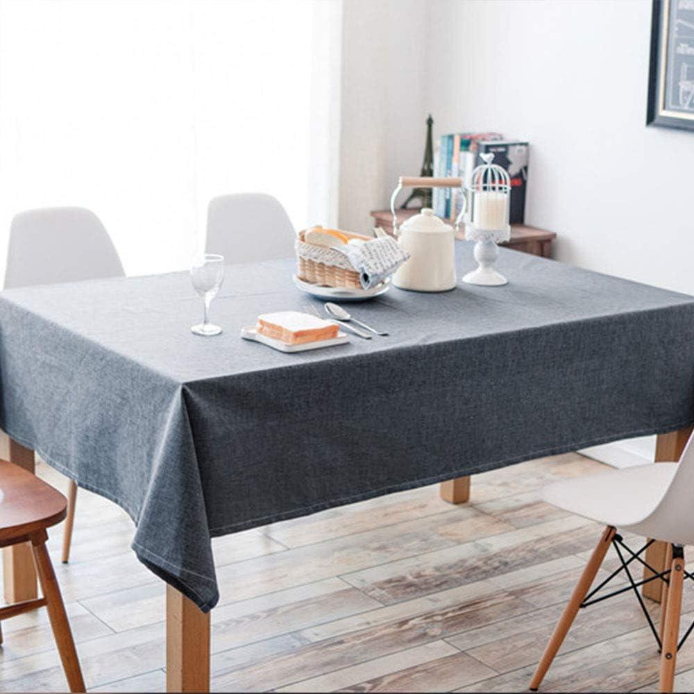 Bleu, 130 * 180cm//51 * 71inch Deggodech Nappe Imperm/éable Rectangulaire Anti Tache Tissu 130x180cm Bleu Simple Nappe de Table Lavable Coton Lin Moderne pour D/écoration de Table de Cuisine