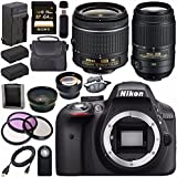Nikon D3300 DSLR Camera with AF-P 18-55mm VR Lens (Black) + Nikon 55-300mm f/4.5-5.6G ED VR Lens + EN-EL14 Replacement Lithium Ion Battery + External Rapid Charger + Carrying Case Bundle