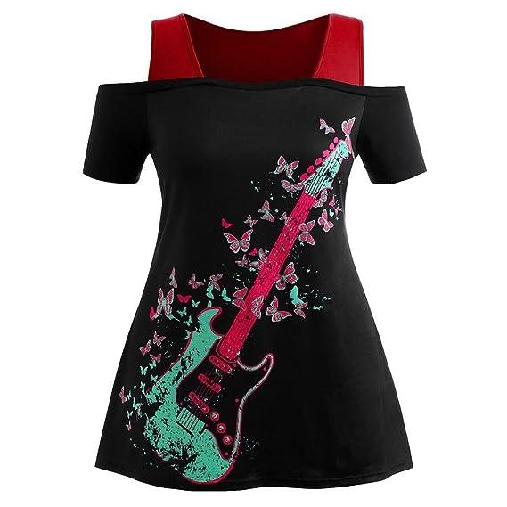 KanLin1986-Ropa Camisetas Mujer Verano Blusa Mujer Tops Mujer Verano Blusa Sin Tirantes Camisetas de Manga Corta Sudaderas Imprimir Cami Tops Blusa ...