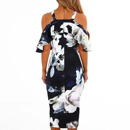 Vestido de Fiesta Mujer ❤ Amlaiworld Mujer Impresión Vestido de Hombro Vestido de Cóctel Floral de Noche Vestido Fiesta Mujer Largo Boda Elegantes ...