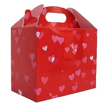10 x Cajas de regalo / Gables Cajas / Cajas de fiesta / Bolsas de fiesta - Corazones rojos, bolsas de regalo de San Valentín: Amazon.es: Juguetes y juegos