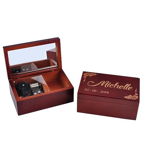 Personalizado marrón de madera caja de música con espejo, Custom de dama BOX, madera
