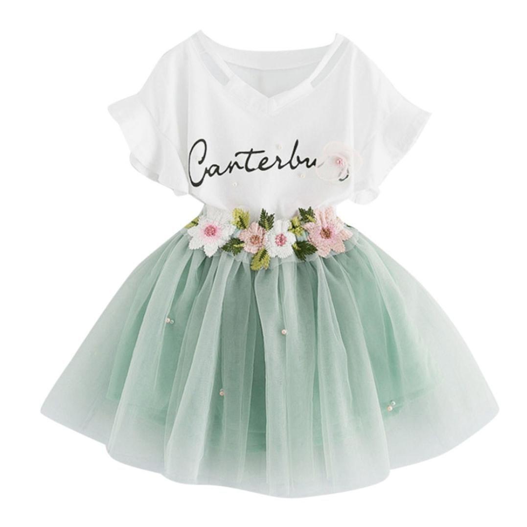 Babybekleidung, Resplend Süßes Mädchen Baby-Kleidung Gute Qualität Outfits Mode Cartoon kleines Kätzchen gedruckt Hemdkleid Kleiderset Net Garn Rock Puffrock Bekleidungssets Babyanzug