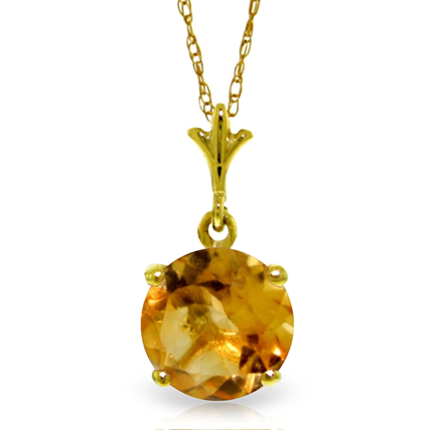 ALARRI 1.15 Carat 14K Solid Gold In Love Citrine Necklace with 18 Inch Chain Length