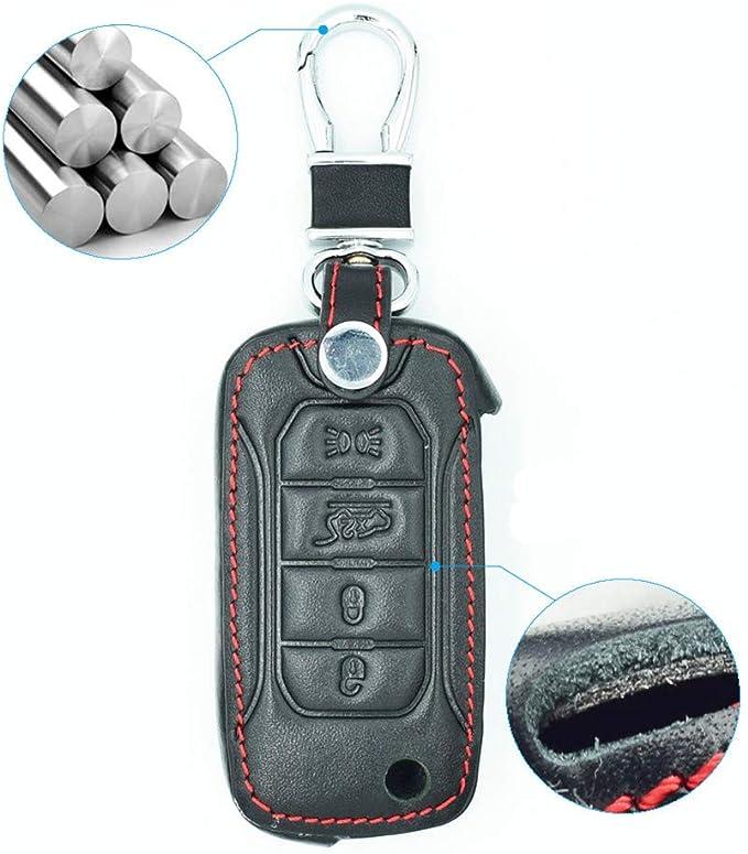 Happyit cuoio auto chiave guscio cover per Jeep Renegade 2015/2016/2017/2018/4/pulsanti del telecomando pieghevole KEYLESS