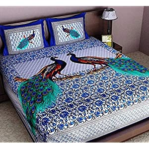 Ealth Kart Cotton 144 TC Bedsheet (Queen_Blue)