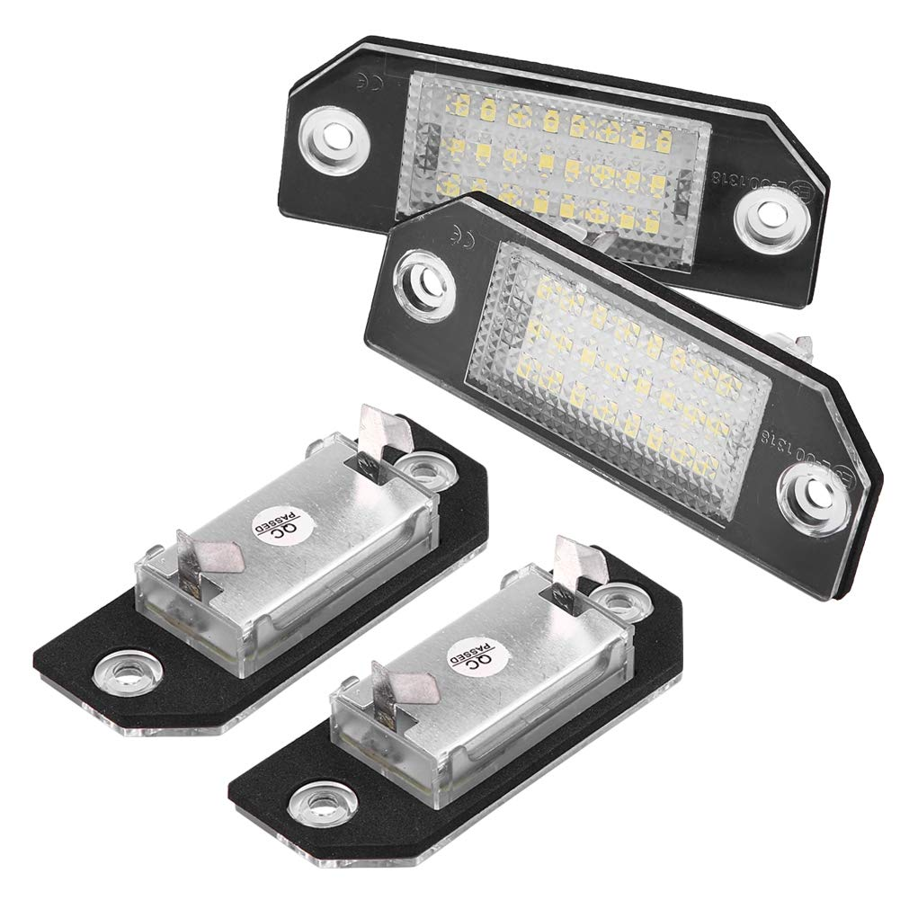 24 perles de Lampe LED 6000k Qiilu 2 pi/èce /Éclairage de la Plaque dImmatriculation Lampe de Plaque LED Immatriculation Lumi/ère pour C-MAX Focus MK2