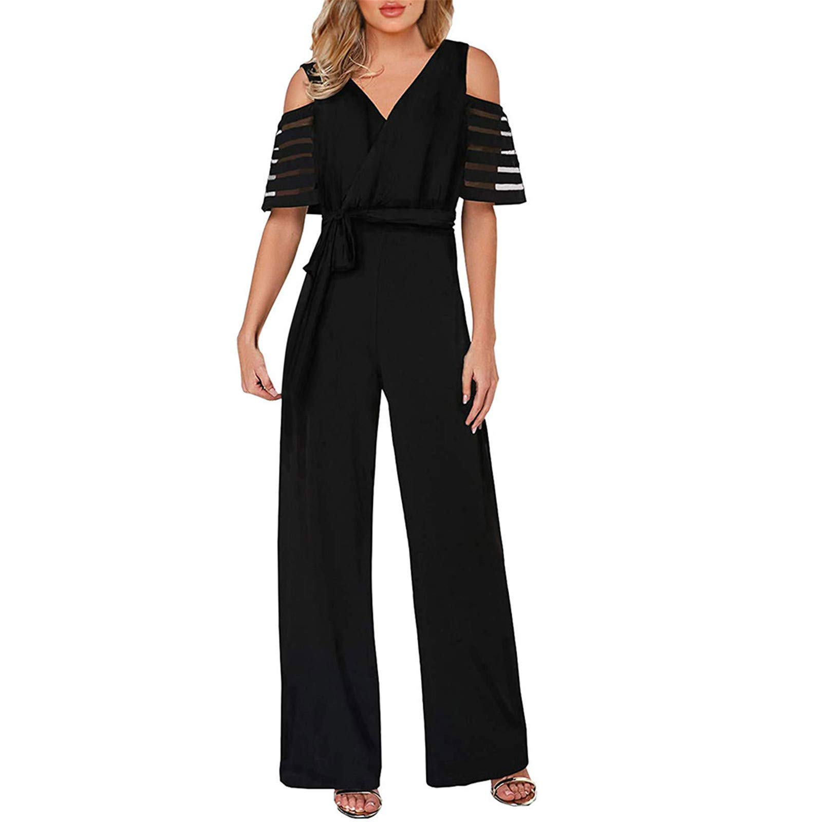 Thenxin Office Lady Jumpsuit V Neck Cold Shoulder High Waist Wide Leg Long Romper with Belt(Black,S)
