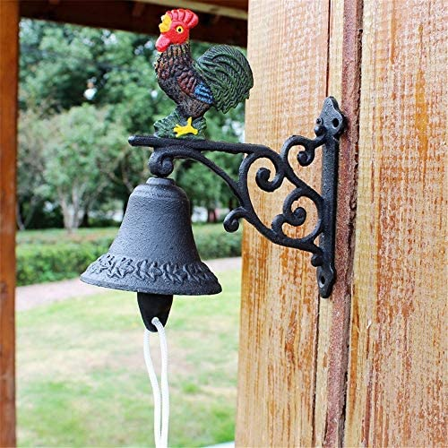 アンティークドアベル 呼び鈴 アイアン ベル鋳鉄 ドア チャイム 装飾鋳鉄ドアのベルルースタードアベル鋳鉄ベルの家の壁の装飾庭の装飾 庭の装飾 (Color : Multi-colored, Size : Free size)