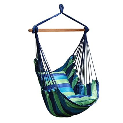 Number One Hanging Hammock Chair Swing, Hanging Rope Swing Chair Porch Swing  Seat With