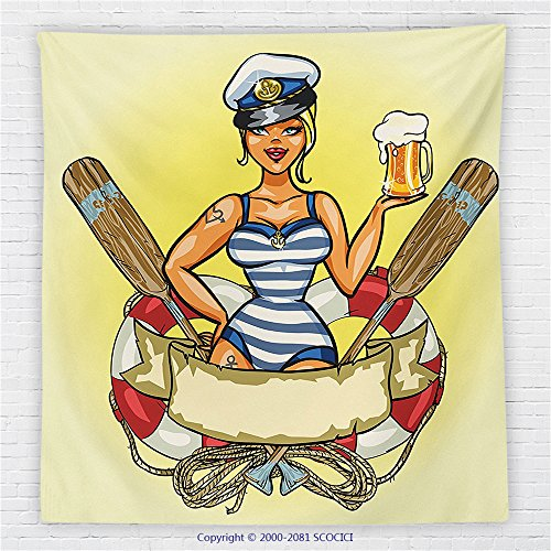 59 x 59 Inches Girly Decor Fleece Throw Blanket Pin-Up Sexy Sailor Girl in Lifebuoy with Captain Hat and Costume Glass of Beer Feminine Design Blanket