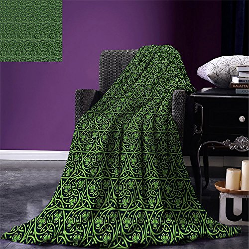 (smallbeefly Irish Custom printed Throw Blanket National Foliage Pattern Intricate Twigs and Dots Trefoil Botanical Abstraction Velvet Plush Throw Blanket Black Lime Green)