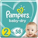 Pampers Baby-Dry Nappies, Size 2 Newborn (4kg-8kg), 58 Nappies