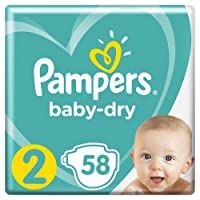 Pampers Baby-Dry Nappies, Size 2 Newborn (4kg-8kg), 58 Nappies, Up to 12 hours of overnight dryness