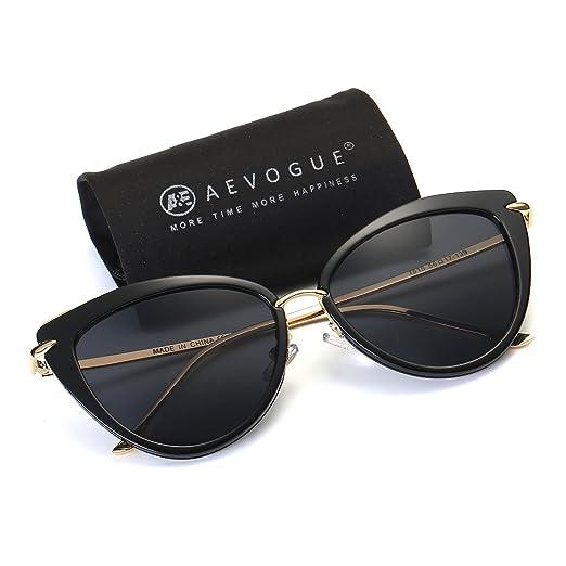 e54bd1c2d0b AEVOGUE Sunglasses For Women Cat Eye Frame Metal Temple Brand Designer  AE0269 (Gold Black