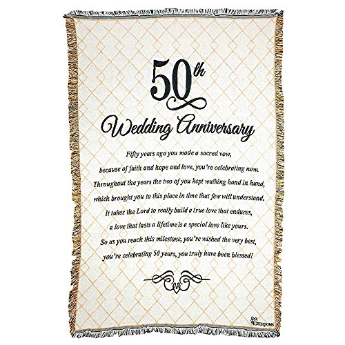 50th Wedding Anniversary Poem 48 x 68 All Cotton Tapestry Throw Blanket (50th Wedding Anniversary Poem)
