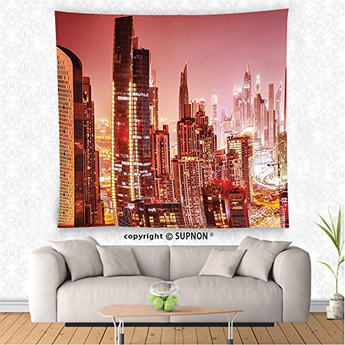 VROSELV custom tapestry Fabric Tapestry Wall Hanging Dubai at Night Cityscape with Bright Lights of Tall Skyscrapers Panorama Picture Print Bedroom Living Room Dorm Decor Pink - Tiffany Dubai
