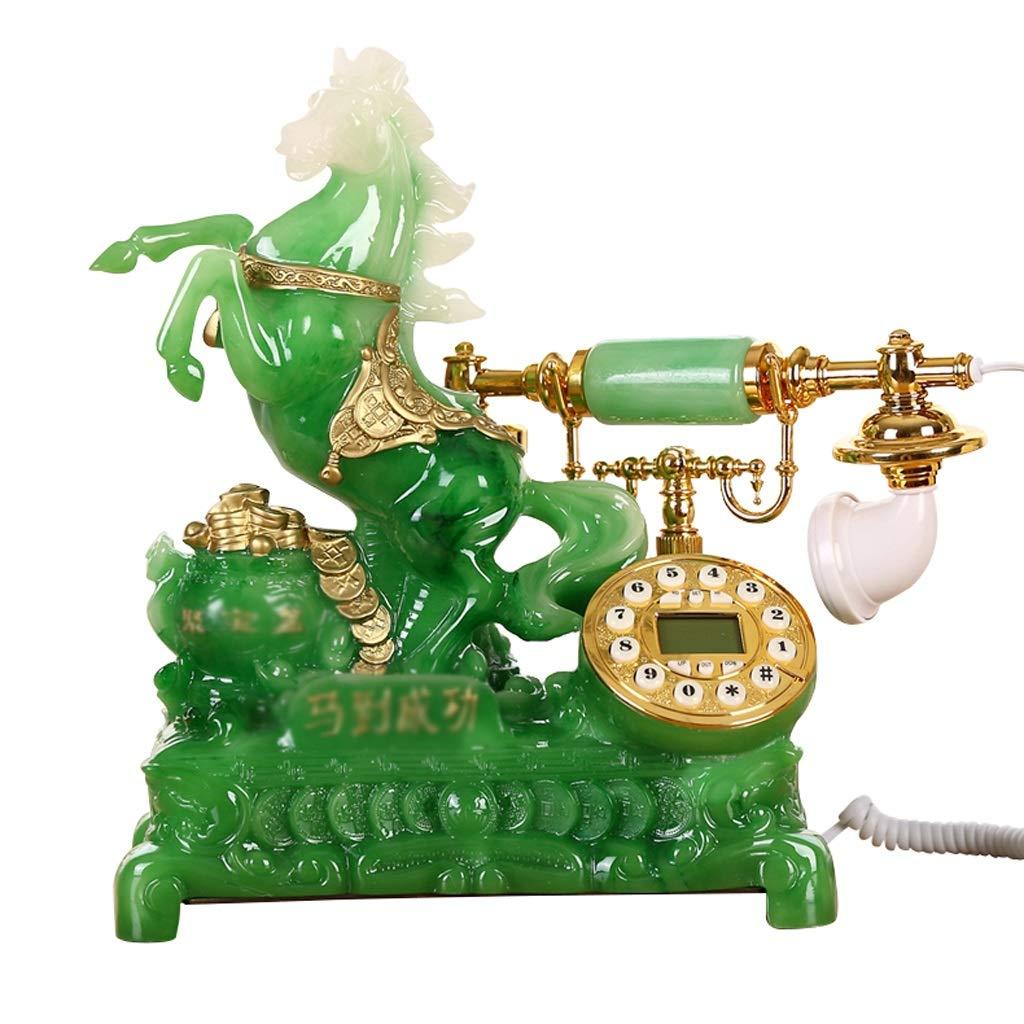 ホーム固定電話、レトロなビンテージアンティーク有線固定の自宅の電話やオフィスの装飾、さまざまなスタイルで利用可能なさまざまな色 (色 : Wood-like, 三 : C) B07JJGYTMK Emerald A