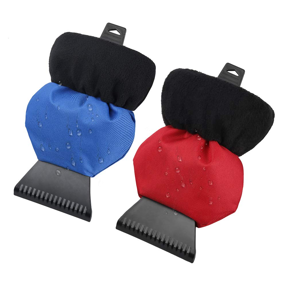 CLNER Ice Scraper Mitt, Windshield Scraper for Winter with Waterproof 600D Oxford and Warm Polar Fleece, Blue and Red Windshield Scraper for Winter with Waterproof 600D Oxford and Warm Polar Fleece, Blue and Red