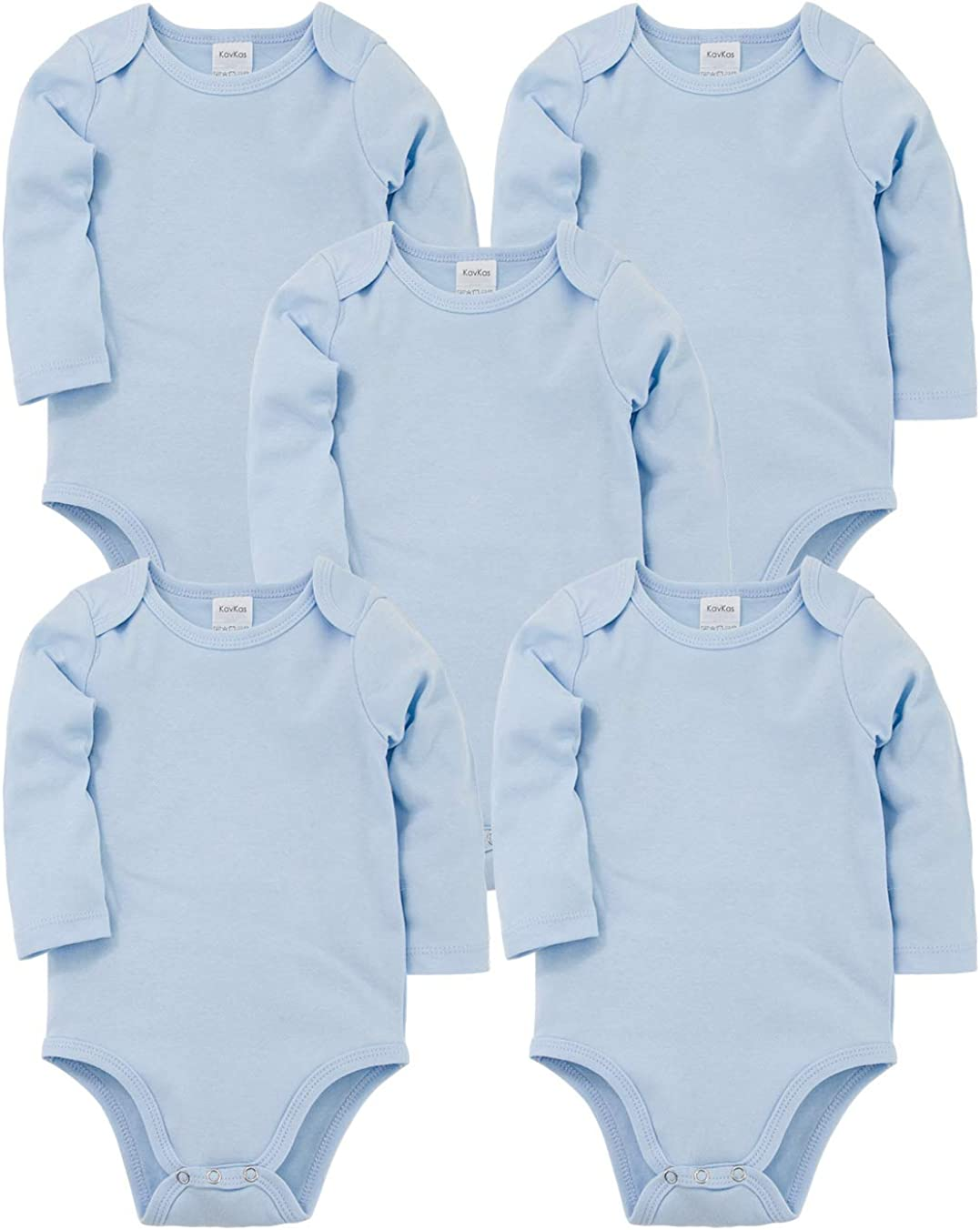 kavkas Baby Long Sleeve Onesies Infant Boys Girls Soft Cotton Bodysuit 5 Pack Newborn Undershirts