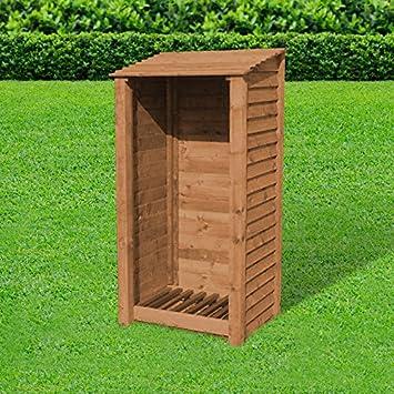Leñero resistente para jardín, fabricado a mano, madera tratada a ...