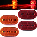 Automotive : 4pcs 10 Diodes Oval Led Side Marker lights,Front Rear Marker Lamps, Indicator Identification lights for Caravan Van Boats Truck Trailer,Surface Mounted Install,Pack of 2 Red + 2 Amber