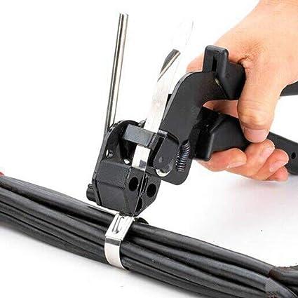 Cable Tie Gun Acero inoxidable Heavy Duty Fasten Alicates Crimper Tensor Cortador: Amazon.es: Bricolaje y herramientas