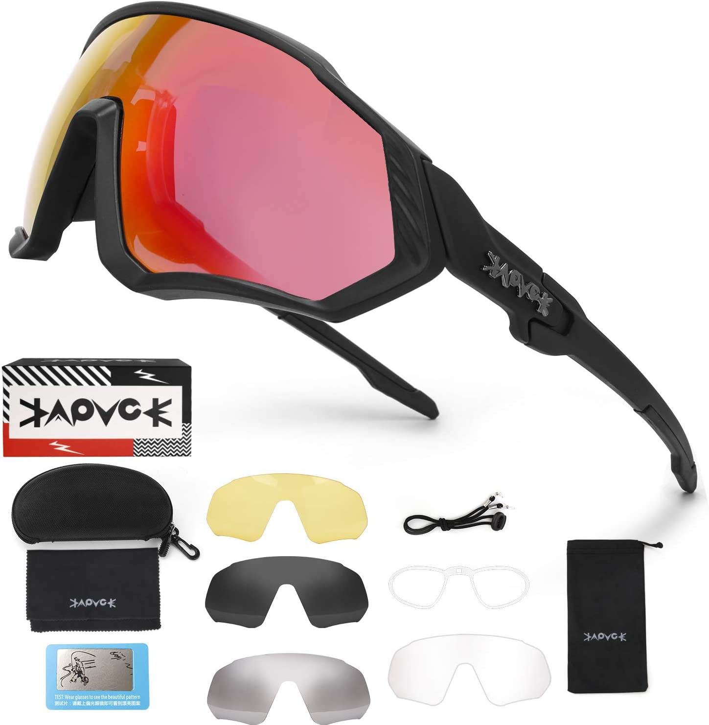 Polarized Sports Sunglasses Cycling Glasses with 4 Interchangeable Lenses,Mens Womens Cycling Glasses,Baseball Running Fishing Ski Running Golf Driving Sunglasses