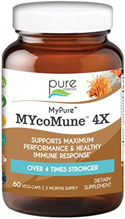 MYcoMune 4X Organic Mushroom Supplement - Reishi, Lion's Mane, Cordyceps, Chaga, Shiitake, Maitake for Immune System, Combat Stress, Build Energy by Pure Essence - 60 Caps