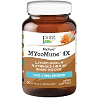 MYcoMune 4X Organic Mushroom Supplement - Reishi, Lion's Mane, Cordyceps, Chaga, Shiitake, Maitake for Immune System, Combat Stress, Build Energy by Pure Essence - 60 Caps