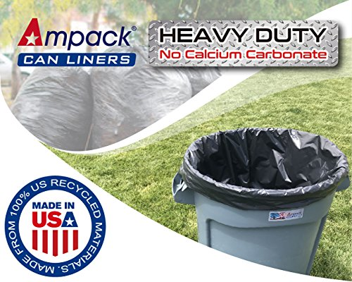 Ampack Heavy Duty Trash Bags (33 Gallon, 120 Count, 1.5mil, Black, Can Liner). Made in USA. from 100% US Recycled LDPE - No Calcium Carbonate. - 1.5 Mil Liners