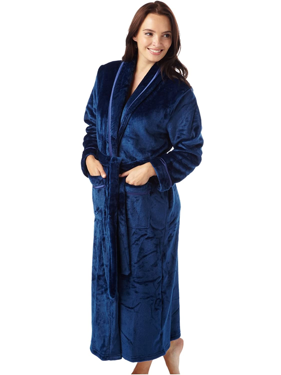 1128be6f3d Ladies Flannel Warm Supersoft Fleece Shawl Collar Robe