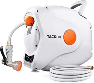 "TACKLIFE Retractable Garden Hose Reel 5/8"" x 90 FT, Any Length Lock, Slow Return System, Wall Mounted and 180°Swivel Bracket"