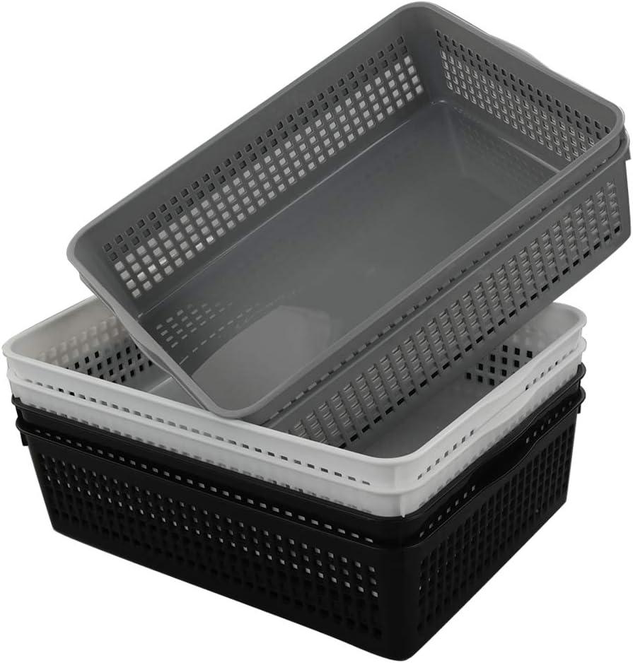 Vababa 6-Pack Plastic Paper Organizer Storage Baskets Trays, 11.96-INCH x 8.74-INCH x 3.54-INCH