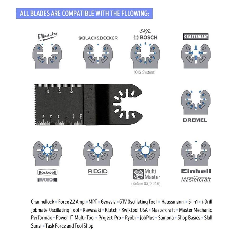 Womdee Ensemble de Lames de scie universelles /à d/égagement Rapide et oscillant pour scie /à Bois//m/étal Fein Milwaukee Dewalt Porter Rockwell Decker Bosch Craftsman