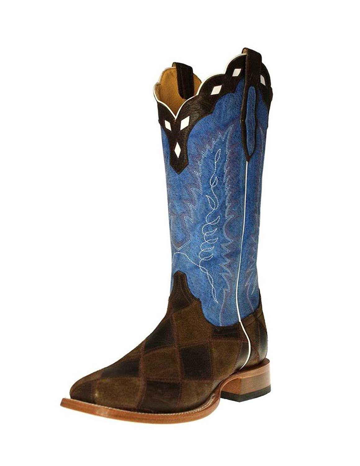 Cinch Western Boots Mens Leather Square Dark Brown Royal Blue CFM613