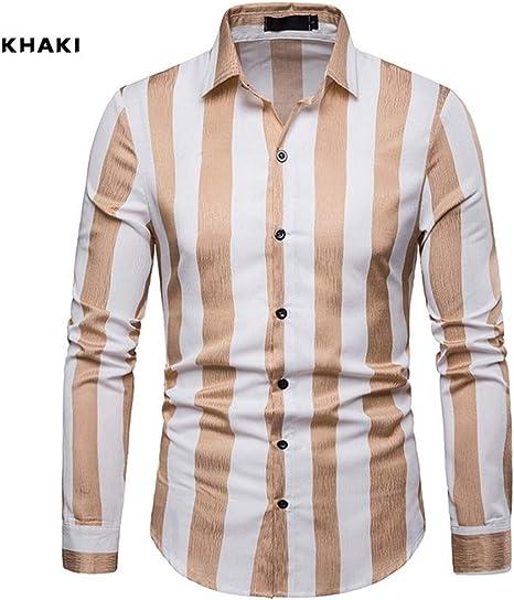 Hombres Camisas Casual Manga Larga Raya Slim Fit Elástica Camisa: Amazon.es: Deportes y aire libre
