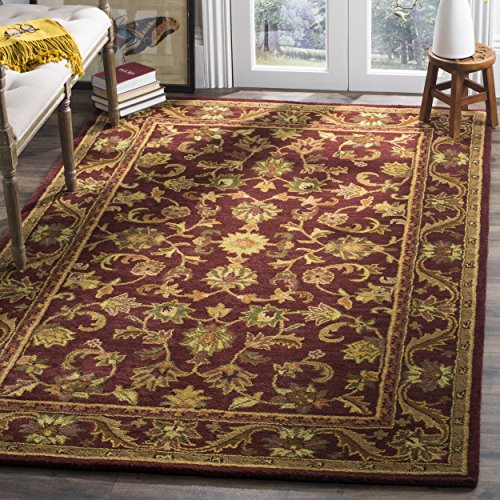 Collection AT52B Handmade Traditional Oriental Wine and Gold Wool Area Rug (4' x 6') (6 Gold Area Rug)