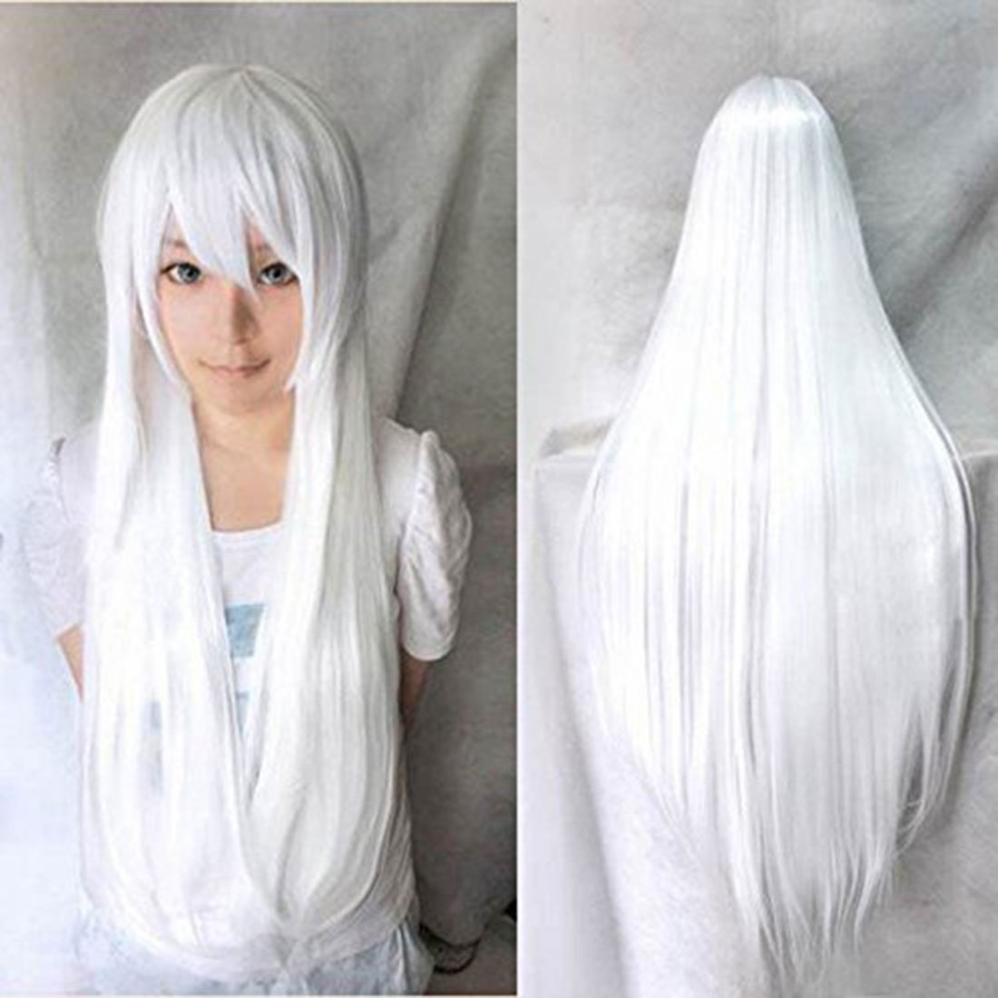 5119963d3 Amazon.com: Anogol Vocaloid 32inches Long Straight Wigs Lolita White  Cosplay Wig: Beauty