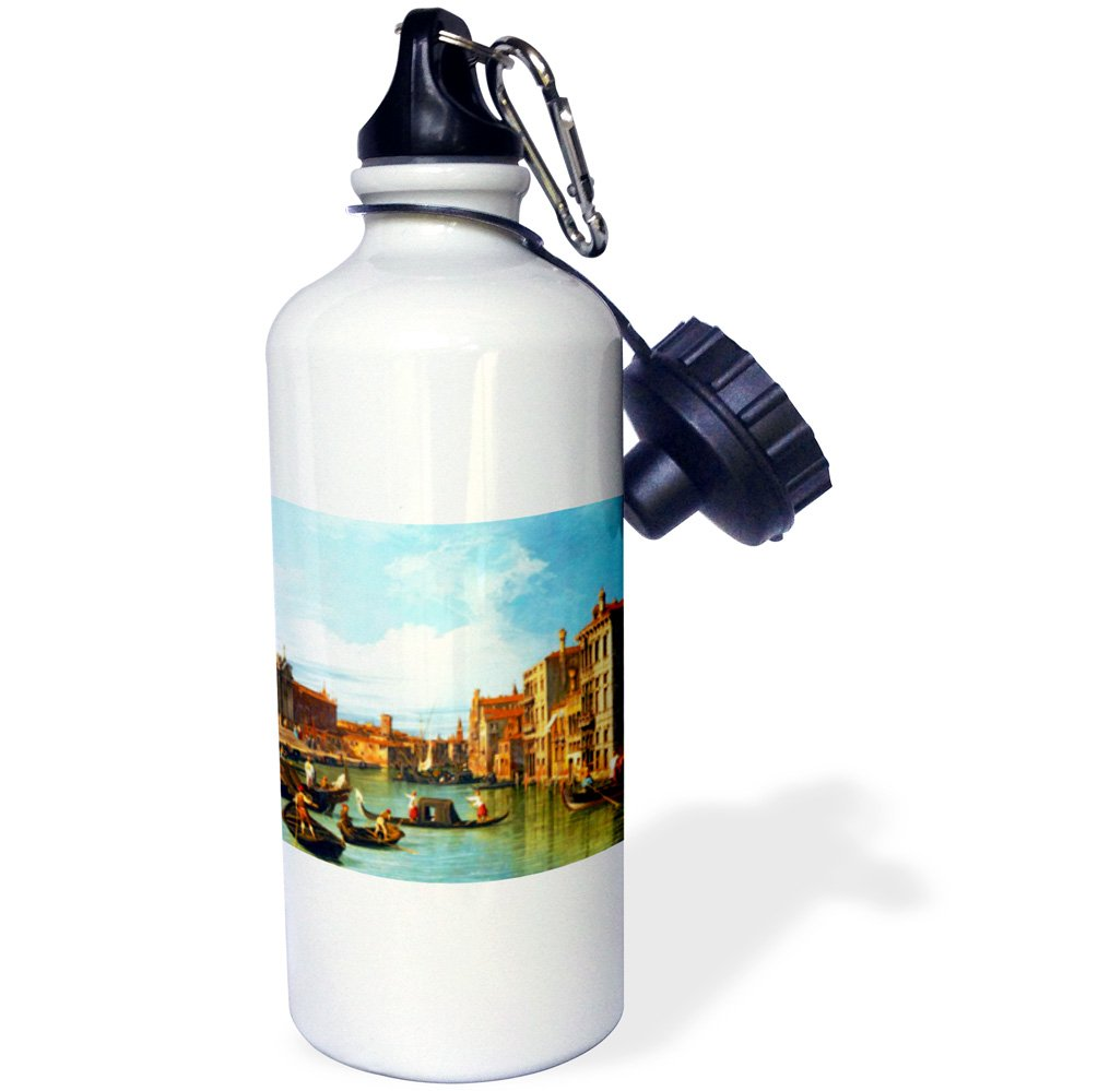 3dRose wb_162555_1 ''The Grand Canal and the Church of the Salute by Canaletto 1730-Venice Italy Italian gondola boats'' Sports Water Bottle, 21 oz, White
