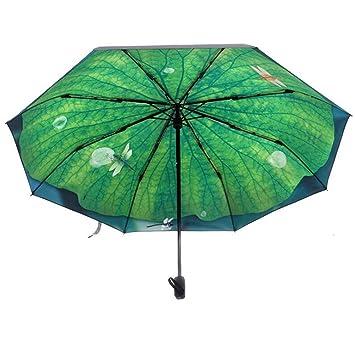 GOLAEkh,Paraguas negro verano hoja de loto paraguas fresco soleado sombrilla paraguas plegable paraguas de