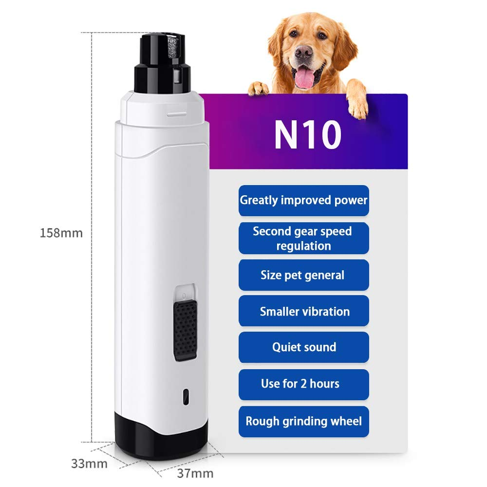 BASMPP Dog Nail Grinder Dog Nail File/Clipper/Trimmer Electric Fast Charging Pet Nail Grinder with 2 Speed Ultra Quiet for Medium Large Dogs Cats Quick USB Charging 3330165mm by BASMPP