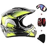New_Soul 4pcs Cascos de Motocros Casco de Cross Adulto Fantastic FS945 con Gafas Protectoras Guantes Mask (PK)