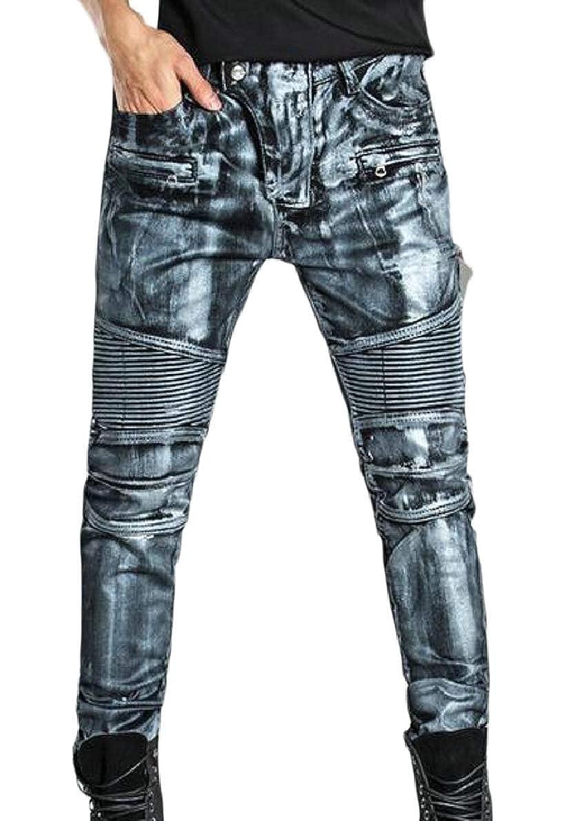 xtsrkbg Mens Fashion Casual Vintage Elastic Wash Denim Slim Trousers Jeans