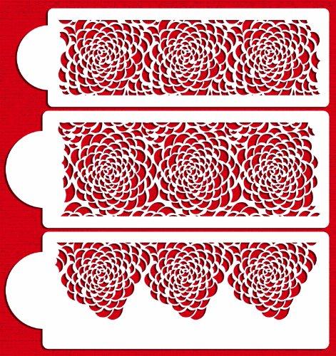 Designer Stencils C410 Camilla Rose 3-tier Set Cake Stencils, Beige/semi-transparent