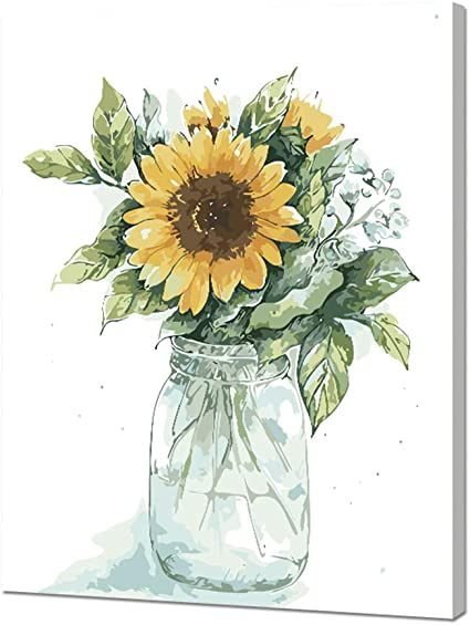 Amazon Com Paint By Numbers For Adults Framed Canvas Easy Beginners Floral Sunflowers Diy Art Crafts Painting Kits With Acrylic Hobbies 16x 20 Inch